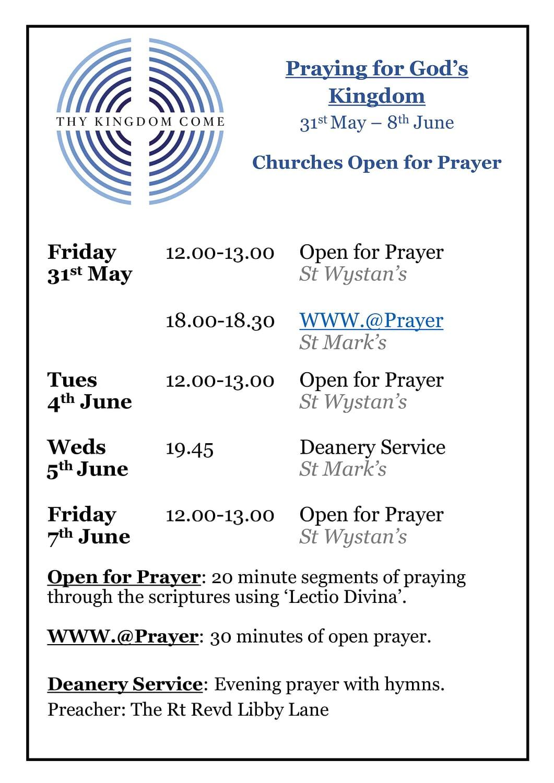 Churches Open for Prayer June 2019