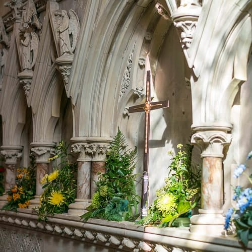 Flowers on Reredos at St Mark's Church