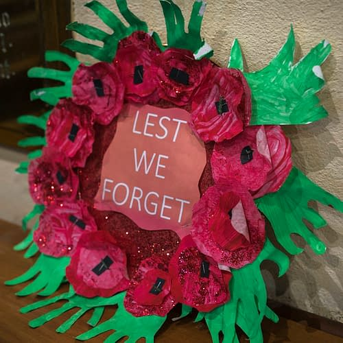 Poppy Arrangement at Remembrance Sunday at St Mark's Church