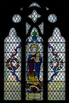 St Cecilia - Stained glass window at St Mark's Church