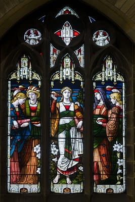 Wise and foolish maidens - Stained glass window at St Mark's Church